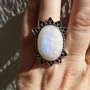 New Rainbow Moonstone Silver Ring. Size 9